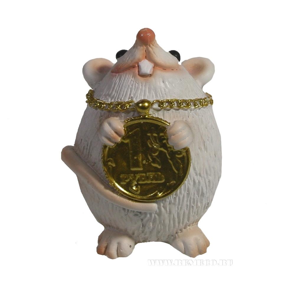 Фигура декоративная Мышка с рублем (белый) L4W4H6 оптом