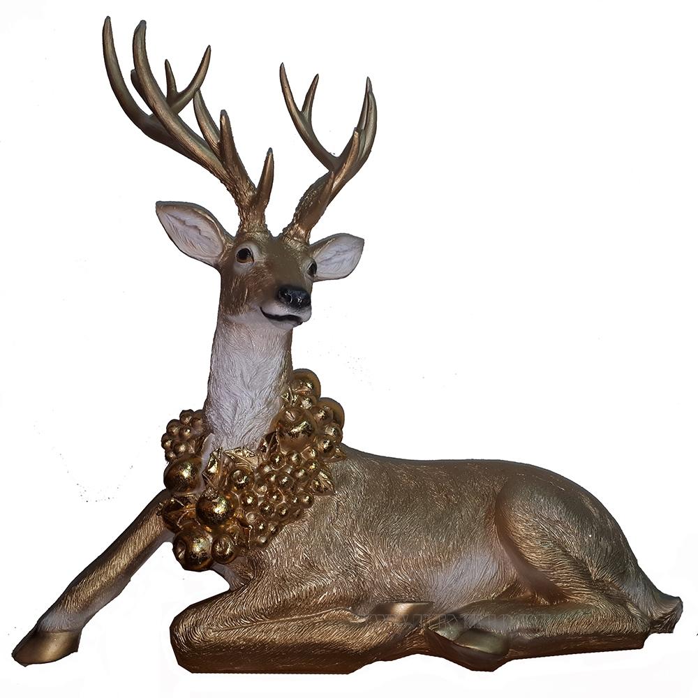 Фигура декоративная Рождественский Олень лежит L75W35H75 (золото) оптом