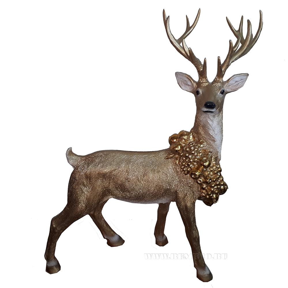 Фигура декоративная Рождественский Олень L95W45H100 (золото) оптом