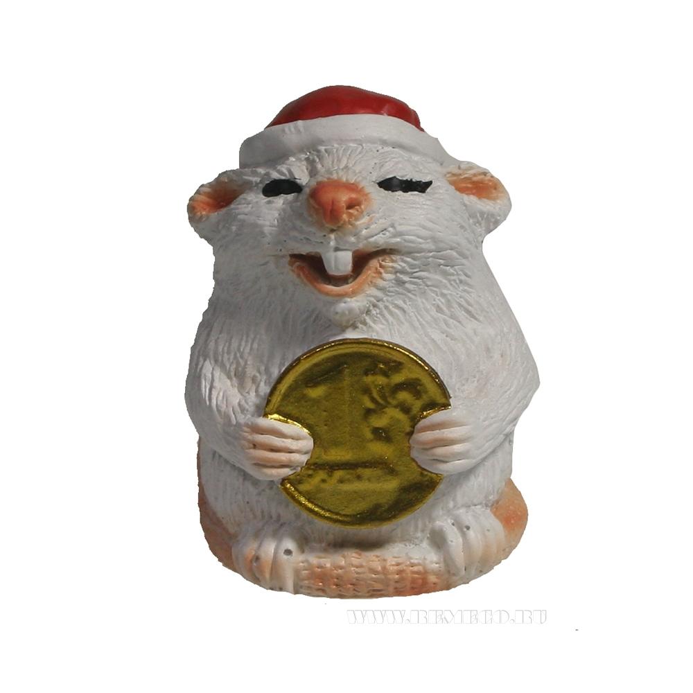 Фигура декоративная Крыса с рублем (белый) L4W4H5 оптом