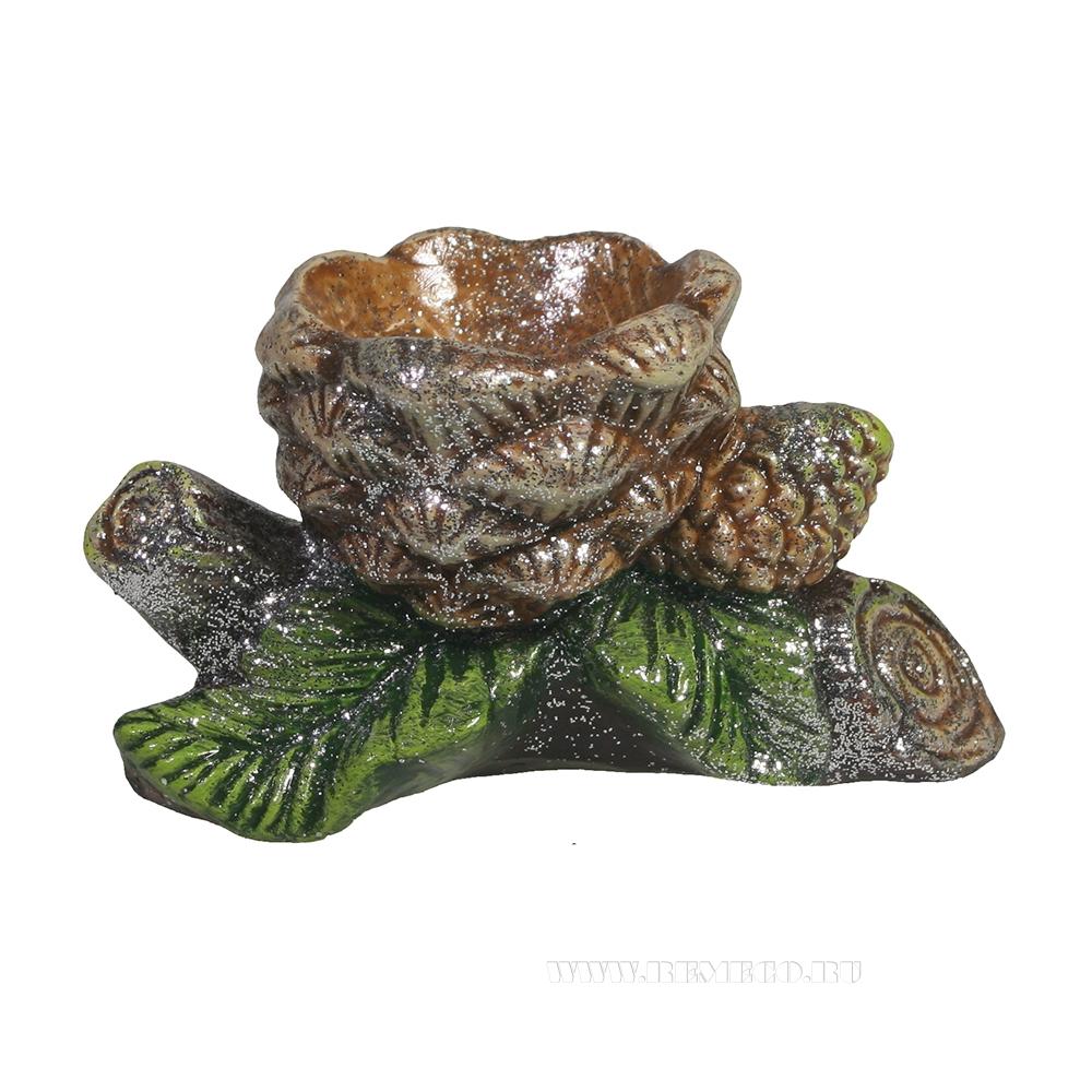 Изделие декоратиное подсвечник Ветка с шишками (акрил) оптом