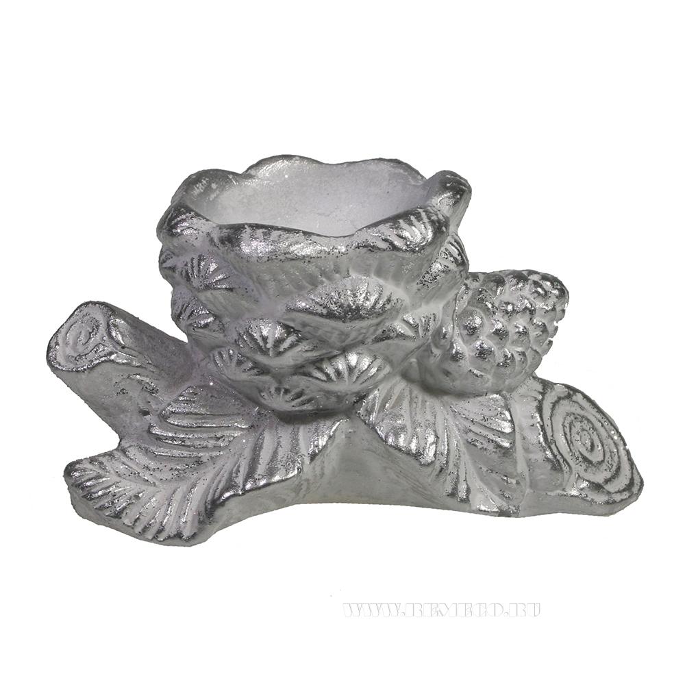 Изделие декоратиное Ветка с шишками (серебро) оптом