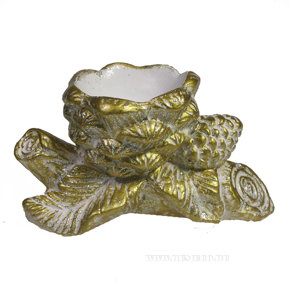 Изделие декоратиное Ветка с шишками (яркое золото) оптом