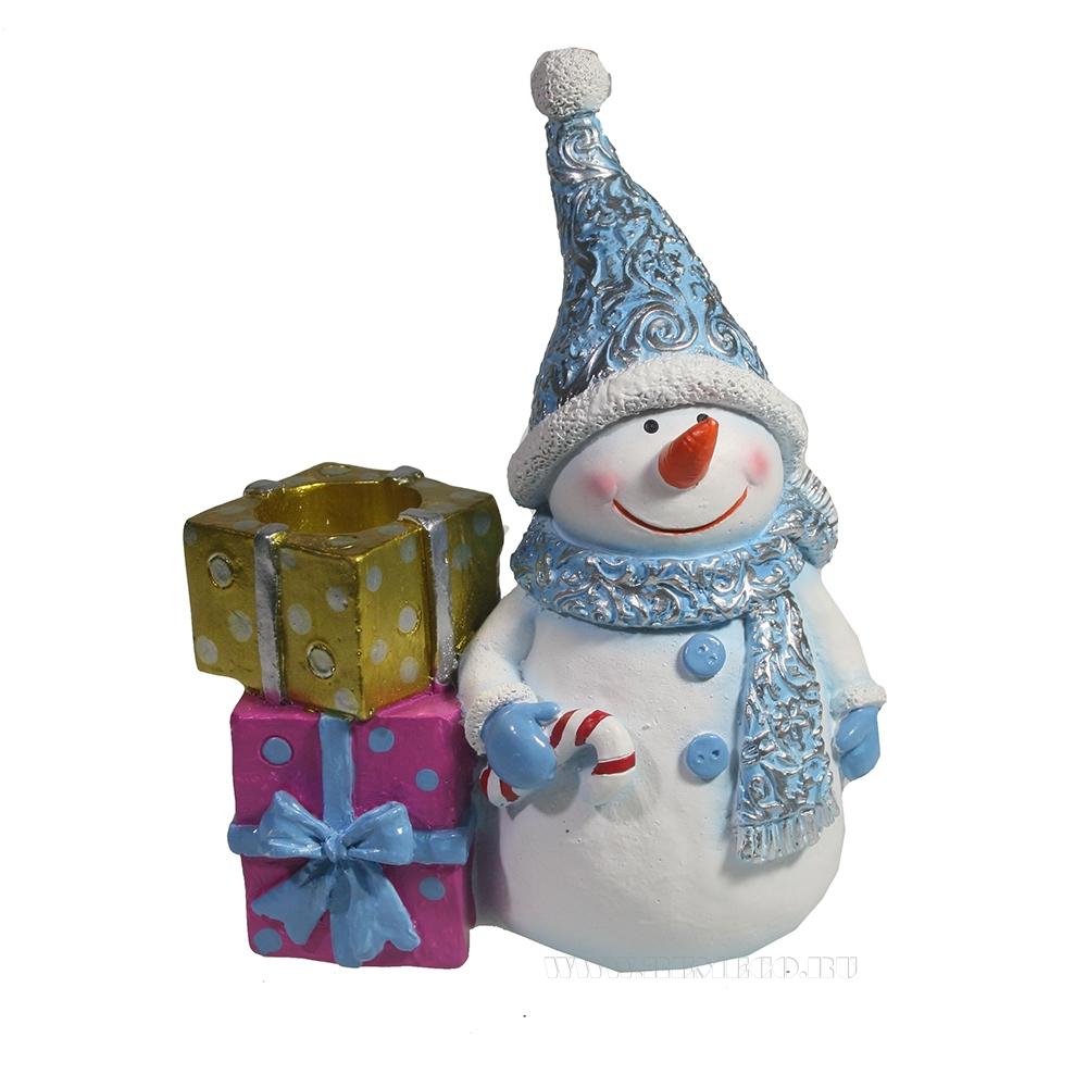Изделие декоративное Снеговик с подарками (голубой) L11,5W6H14 оптом