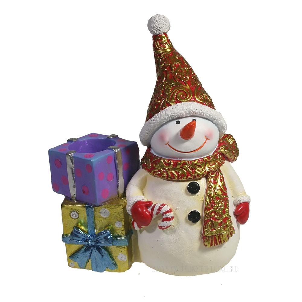 Изделие декоративное Снеговик с подарками (красный) L11,5W6H14 оптом