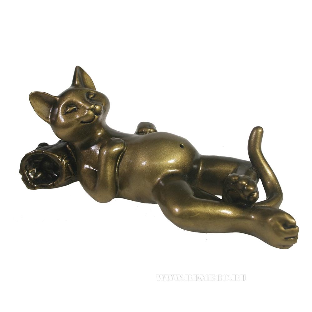 фигура декоративная Кот отдыхает (золото) L18W9H9 см оптом