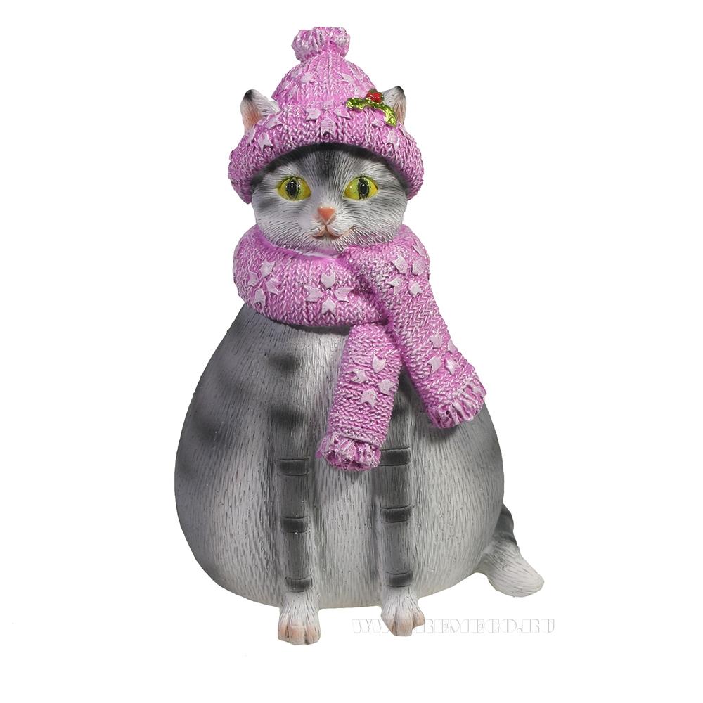 Копилка Кошка Шарлотта (серая) L10W10H14,5 оптом