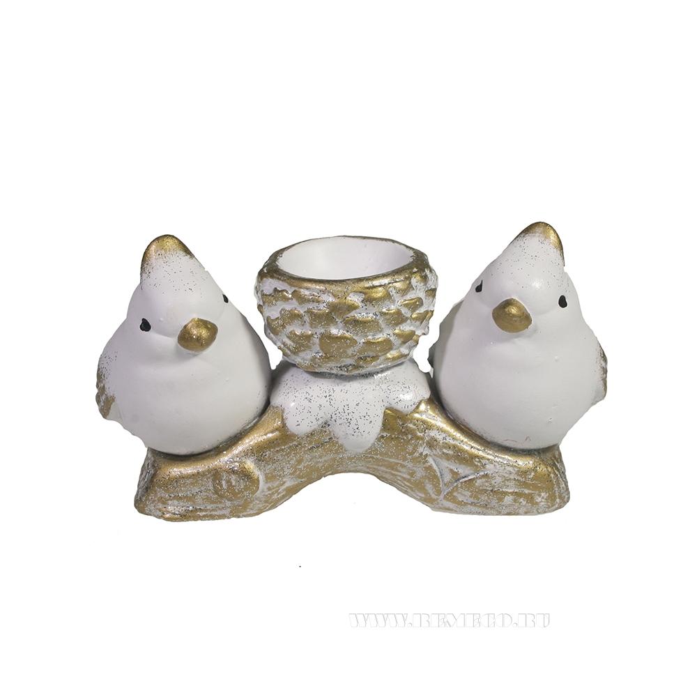 Изделие декоративное Шишечка с птичками (золото) оптом