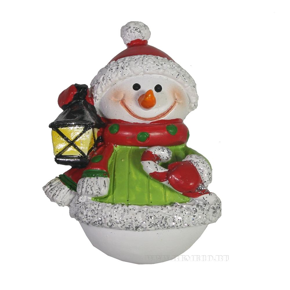 Магнит Снеговик с фонариком оптом