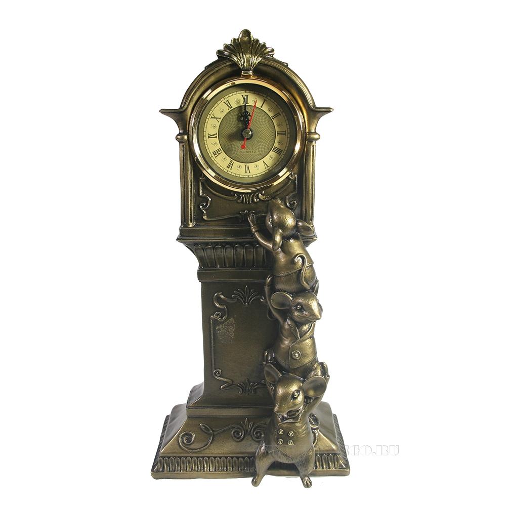 Композиция время Часы с мышками (бронза) L9 W16 H34 см оптом