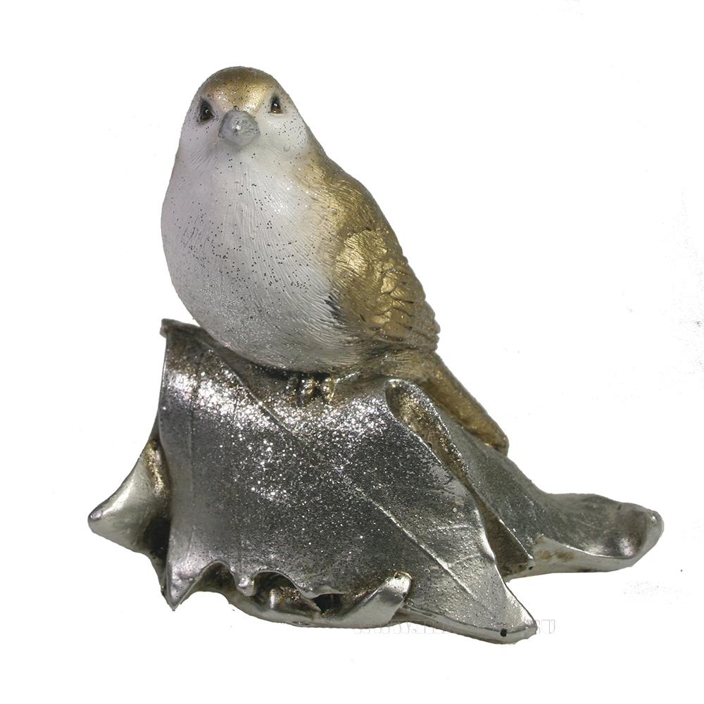 Фигура декоративная Птичка на листочке (золото+серебро) L4W6H11 оптом