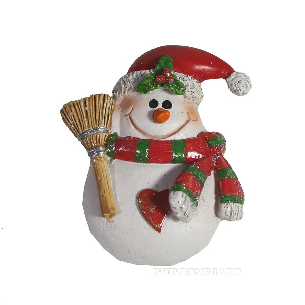 Магнит Снеговик с метлой оптом