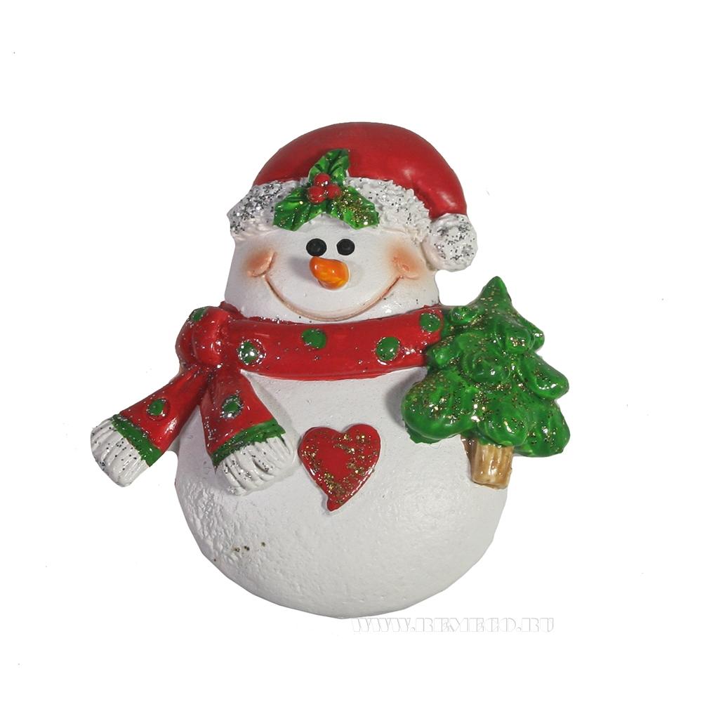 Магнит Снеговик с ёлочкой оптом