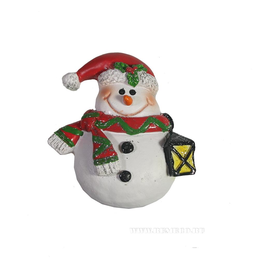 Магнит Снеговик с фонарем оптом