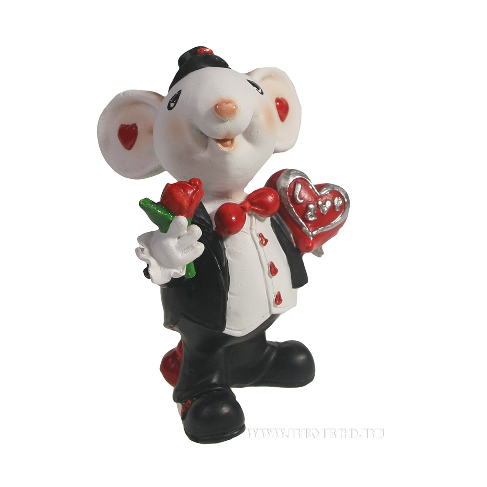 Фигурка декоративная Мышонок-жених (белый) L5 W7 H9 см оптом