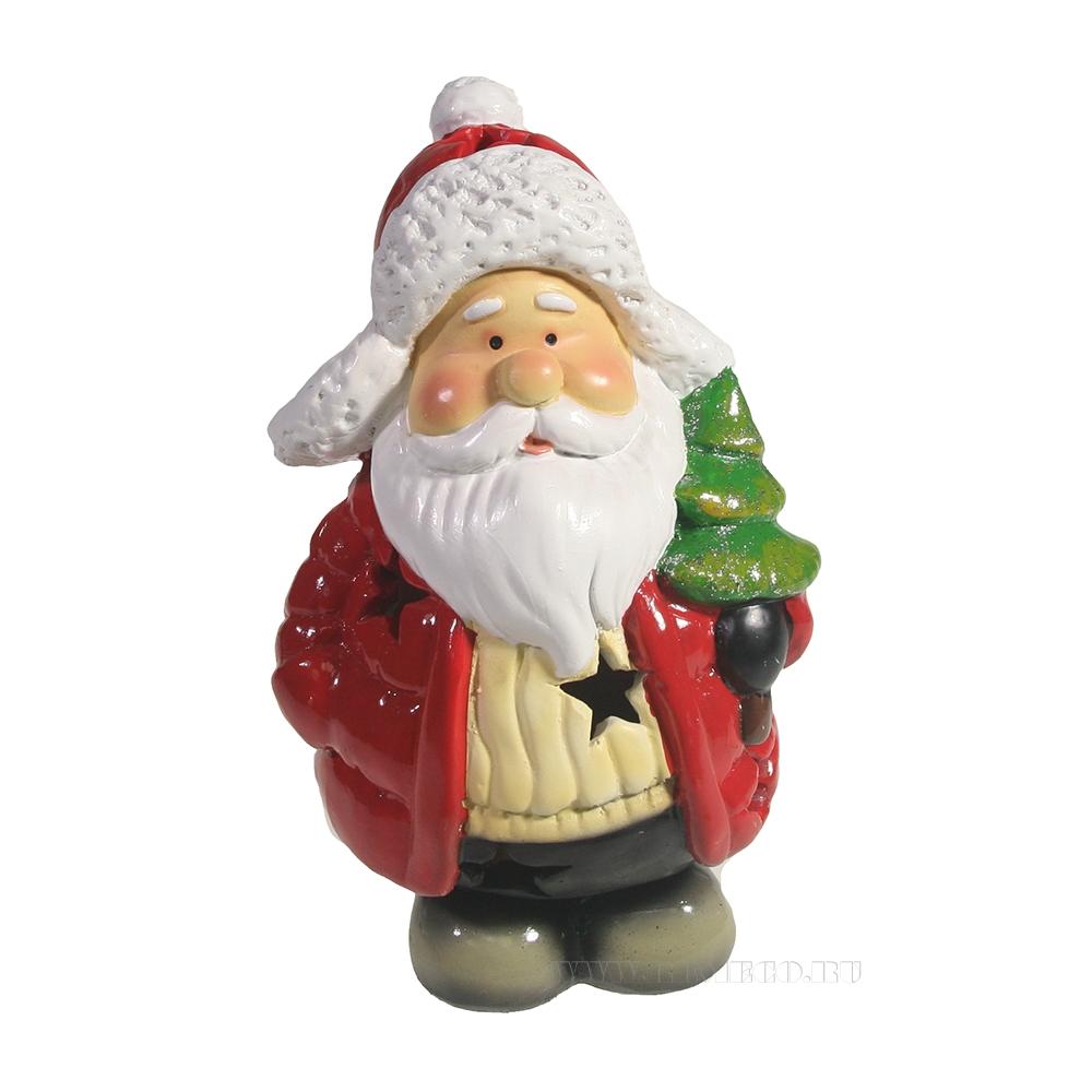 Фигура декоративная со светодиодом Санта с елочкой в пуховике L8,5W9H15 оптом