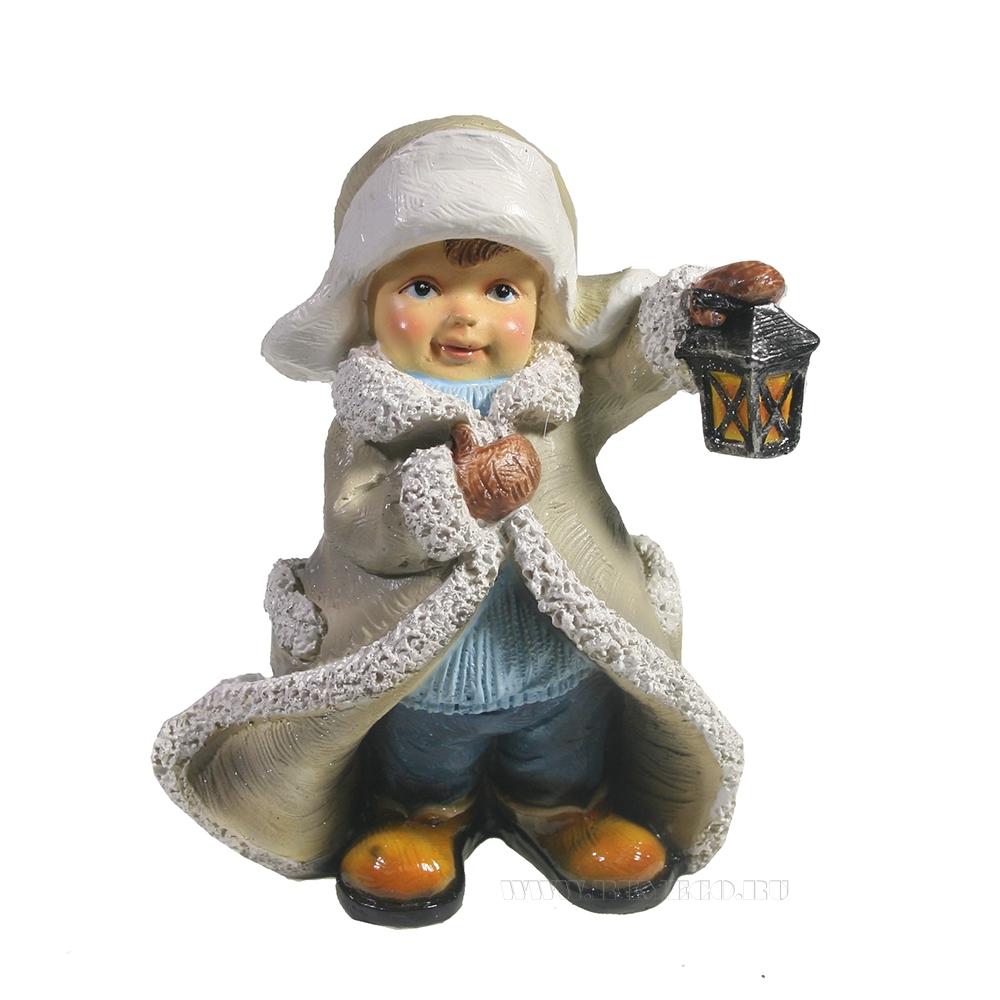 Фигура декоративная Мальчик в тулупе с фонарем L7W11H13,5 оптом
