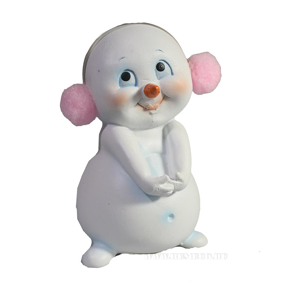 Фигура декоративная Застенчевый снеговик L7,5W6,5H11 оптом