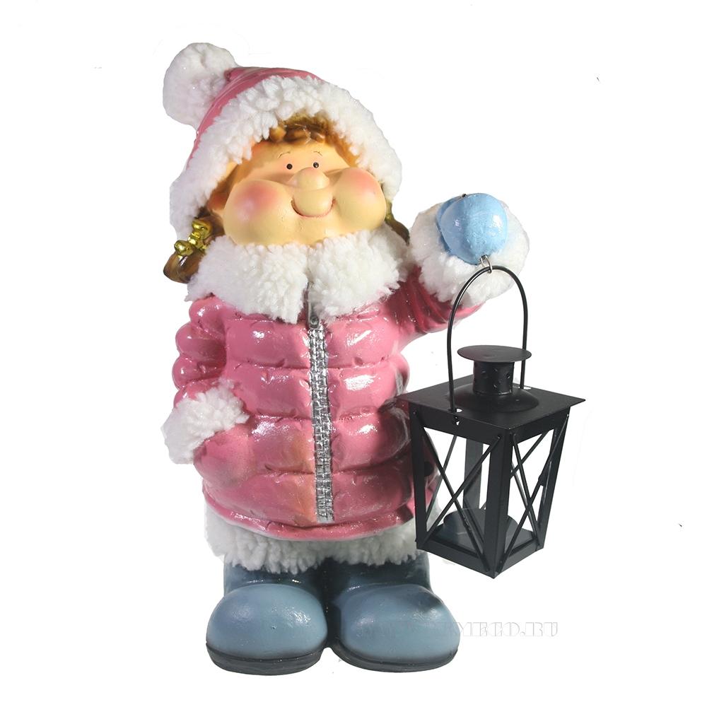 Фигура декоративная Щекастая девочка с фонарем L18W20H37 оптом