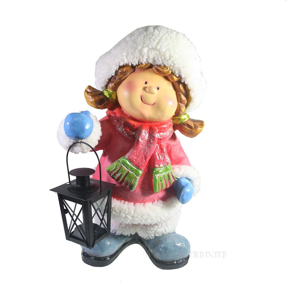 Фигура декоративная Девочка с фонарем L23W25H42 оптом