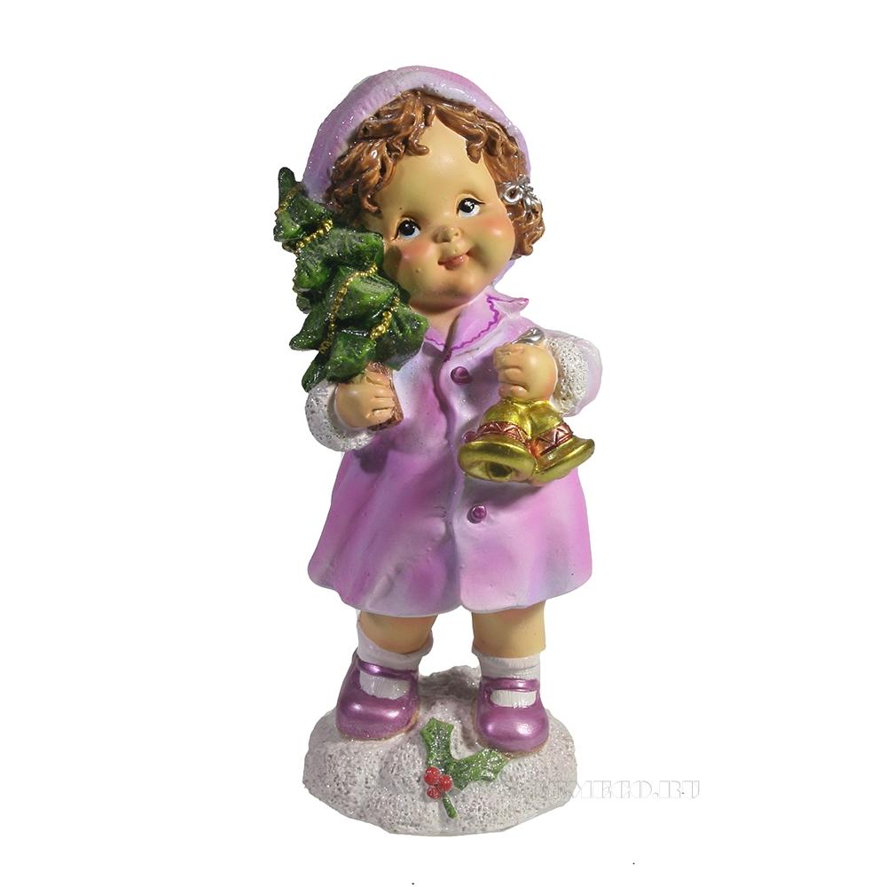 Фигура декоративная Девочка с колокольчиками (розовый) L7W7H17 оптом