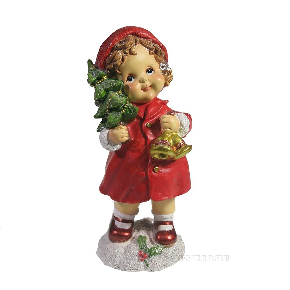 Фигура декоративная Девочка с колокольчиками (красный) L7W7H17 оптом