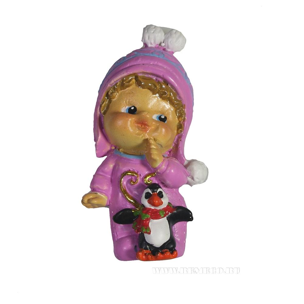 Магнит Малышка с пингвином оптом