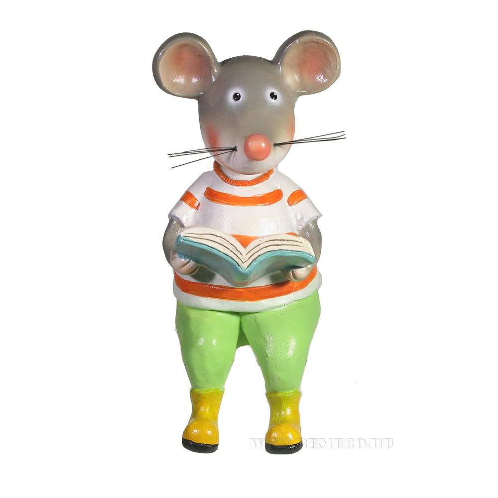 Фигура декоративная Мышонок с книжкой L11W8H17 оптом