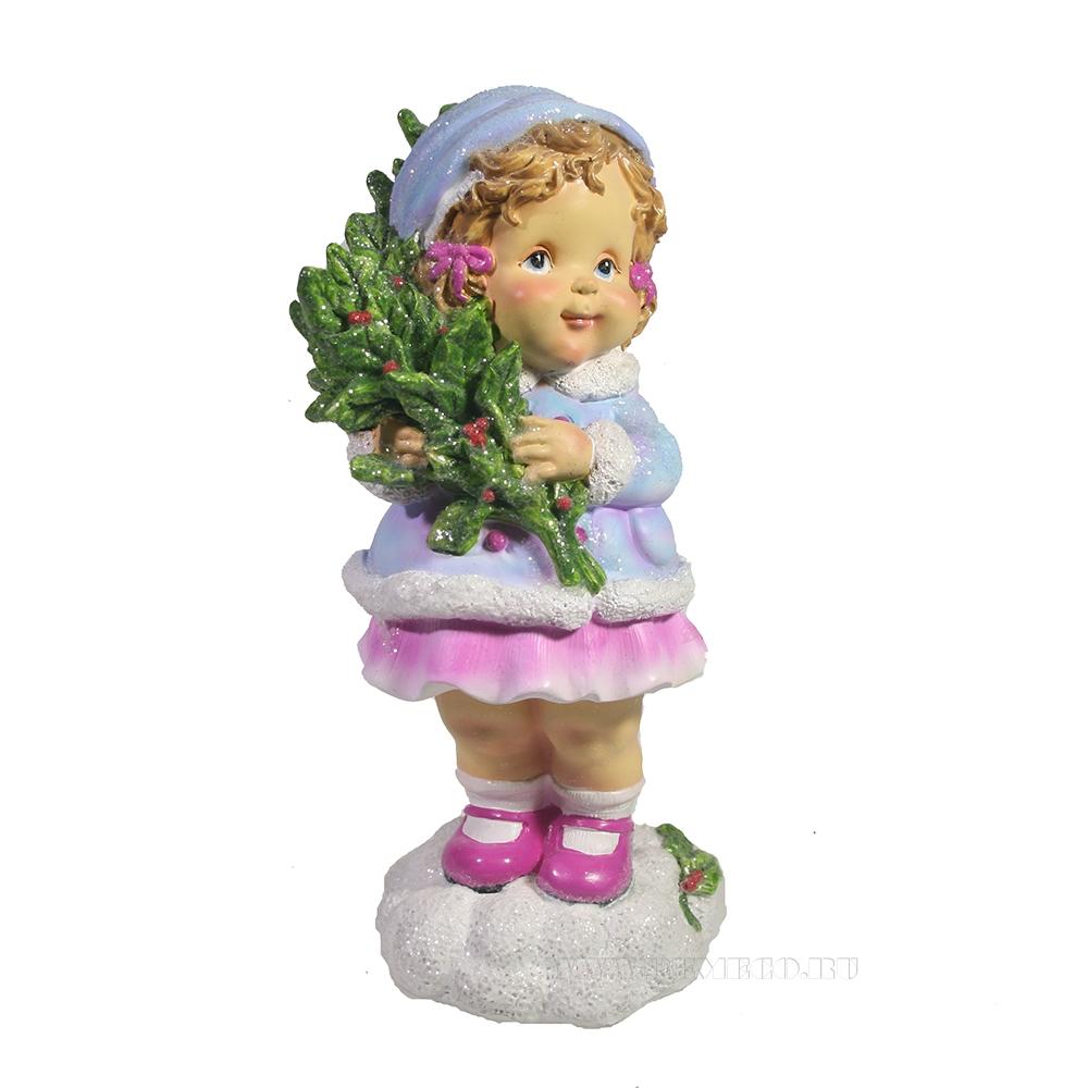 Фигура декоративная Девочка с веткой омелы (сиреневый) L7W7H17 оптом