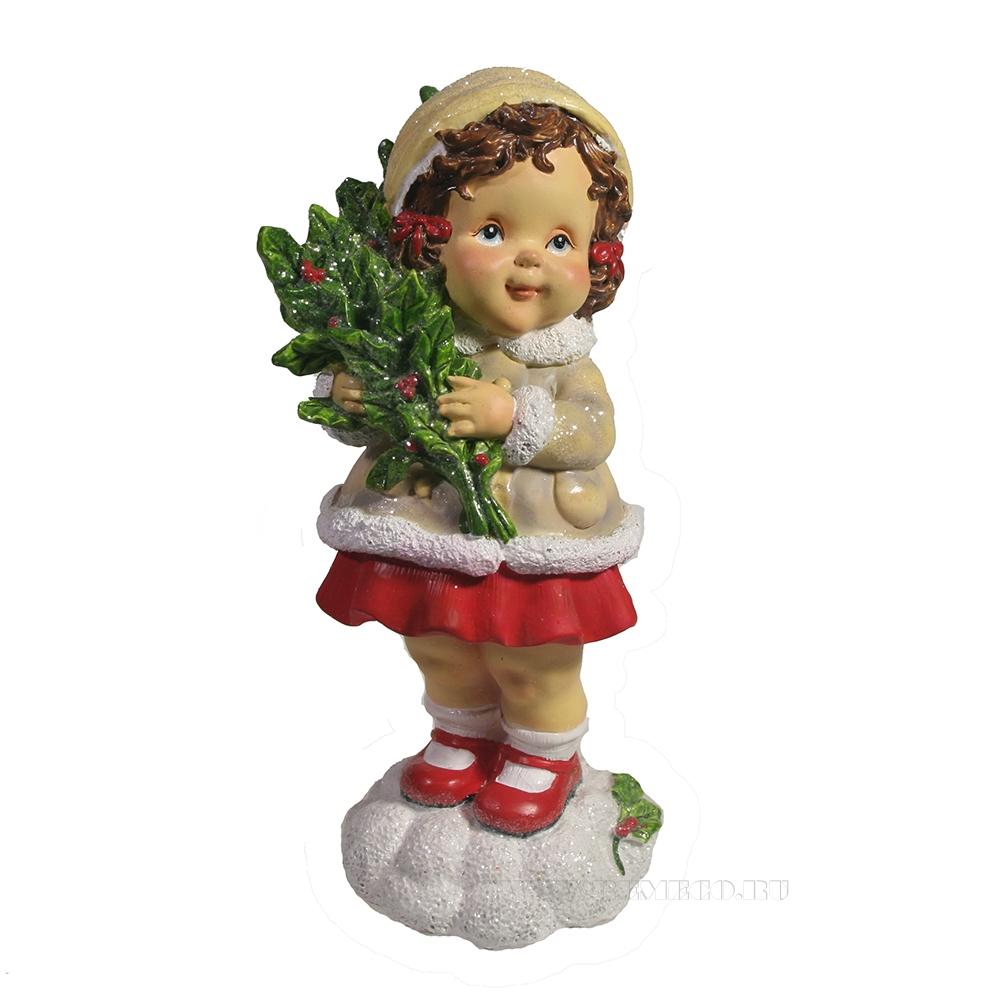 Фигура декоративная Девочка с веткой омелы (бежевый) L7W7H17 оптом