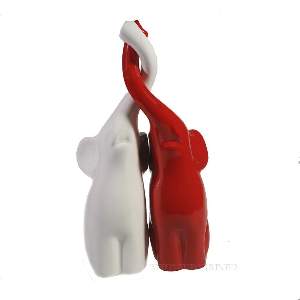 Копилка Пара слонов (белый + красный) L9W14H26 оптом
