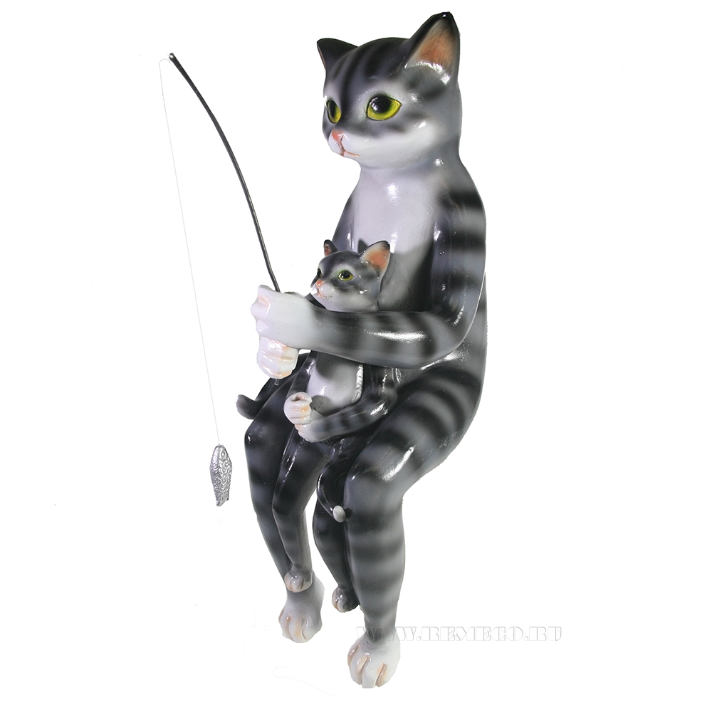 Фигура декоративная Кот с котенком рыбачат L15W13H22.5 оптом