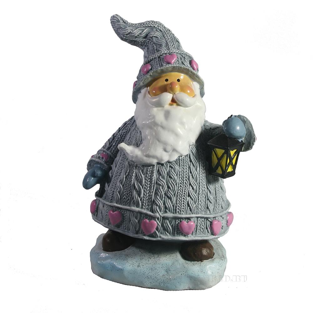 Фигура декоративная Дед мороз с фонарем L9W11H18 оптом