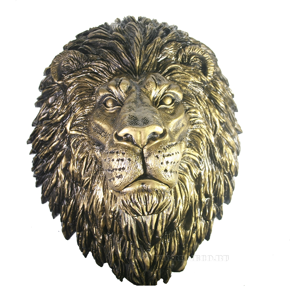 Фигура декоративная навесная Голова льва (бронза) L24W33H42 см оптом