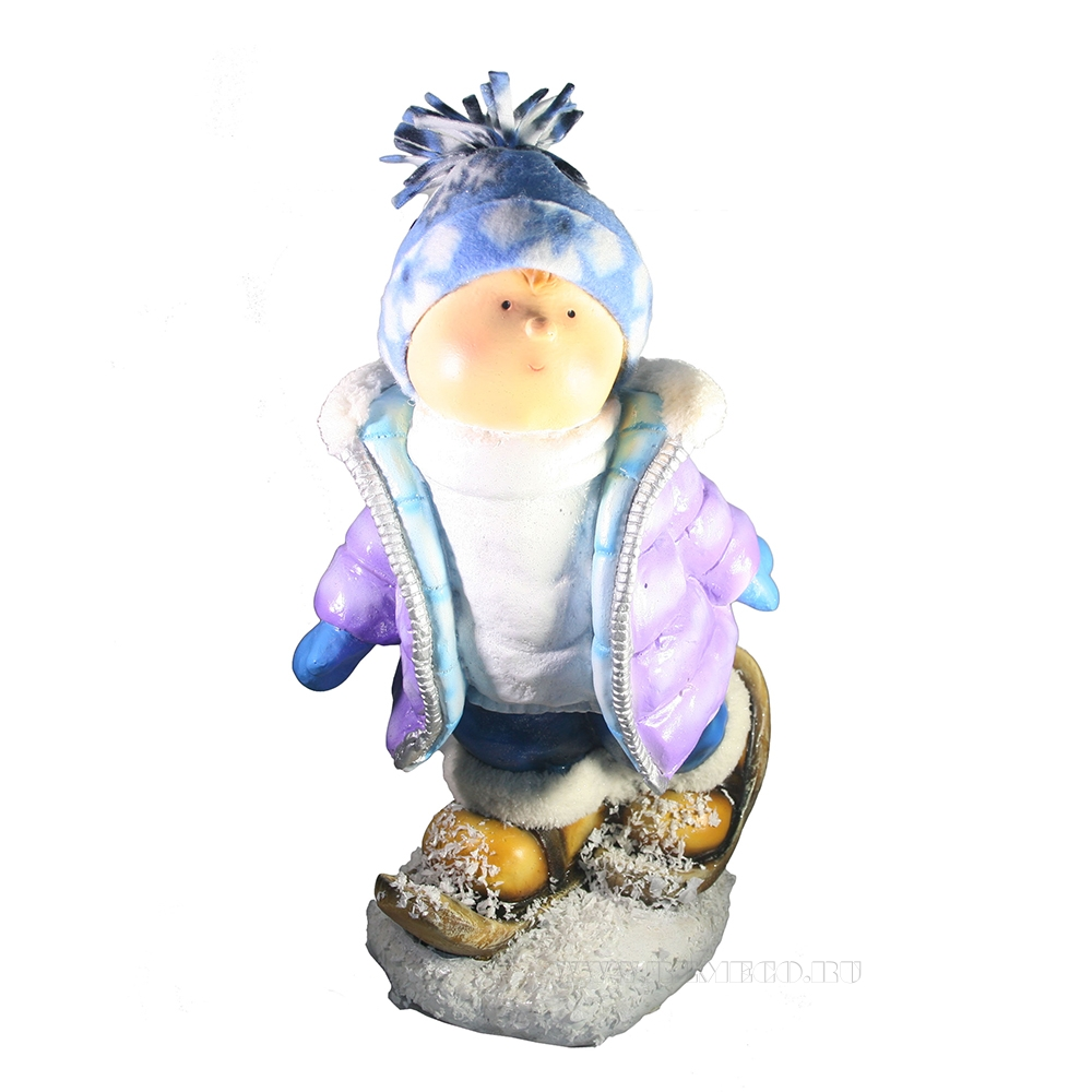 Фигура декоративная Мальчик на лыжах L28W20H45 оптом