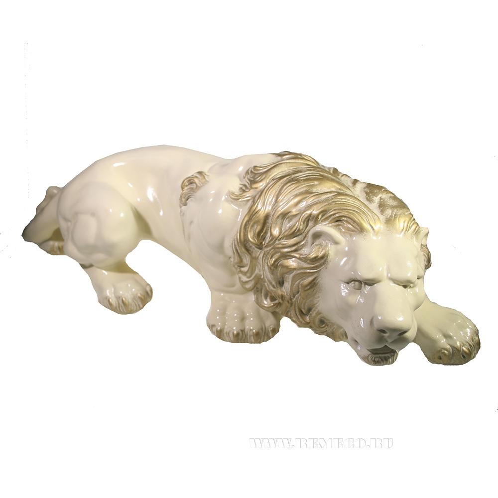Изделие декоративное Лев (слоновая кость+золото) L55 W20 H17 оптом