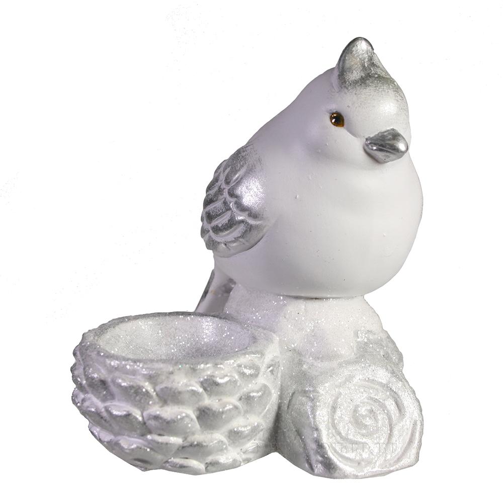 Фигура декоративная подсвечник Птичка у шишечки (белый+серебро) оптом