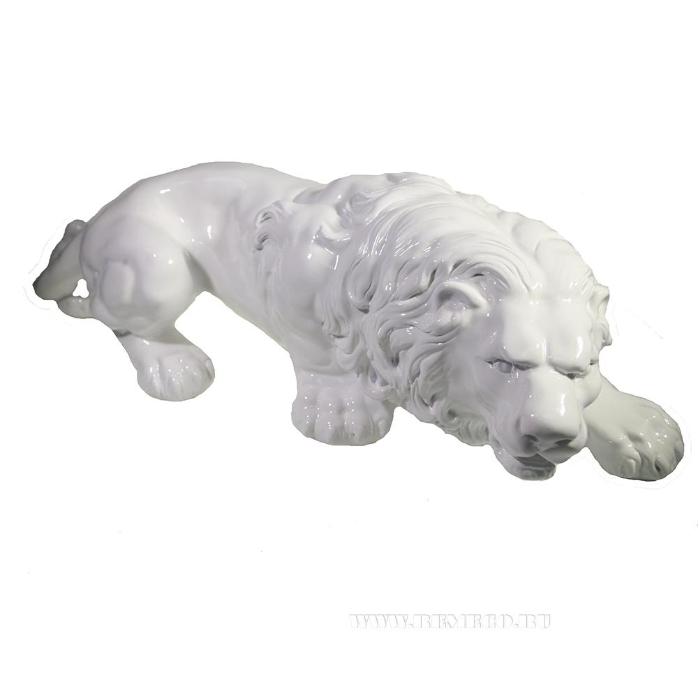 Изделие декоративное Лев (белый глянец) L55W20H17 оптом