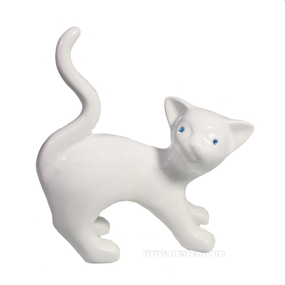 Фигура декоративная Котенок (белый глянец) L15W8H23 оптом