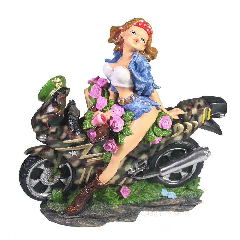 Фигура декоративная Девушка на мотоцикле 19*18*5см оптом