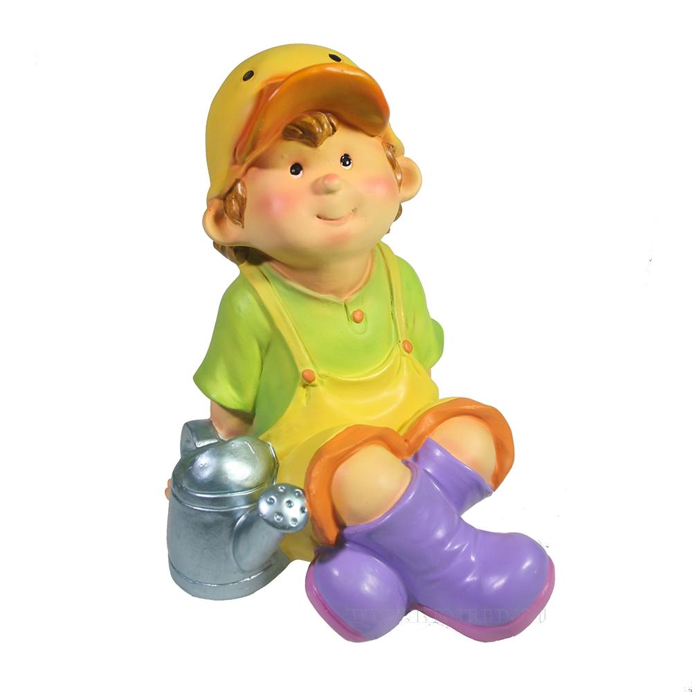 Фигура декоративная Мальчик в кепке-уточке L16W17H19 оптом