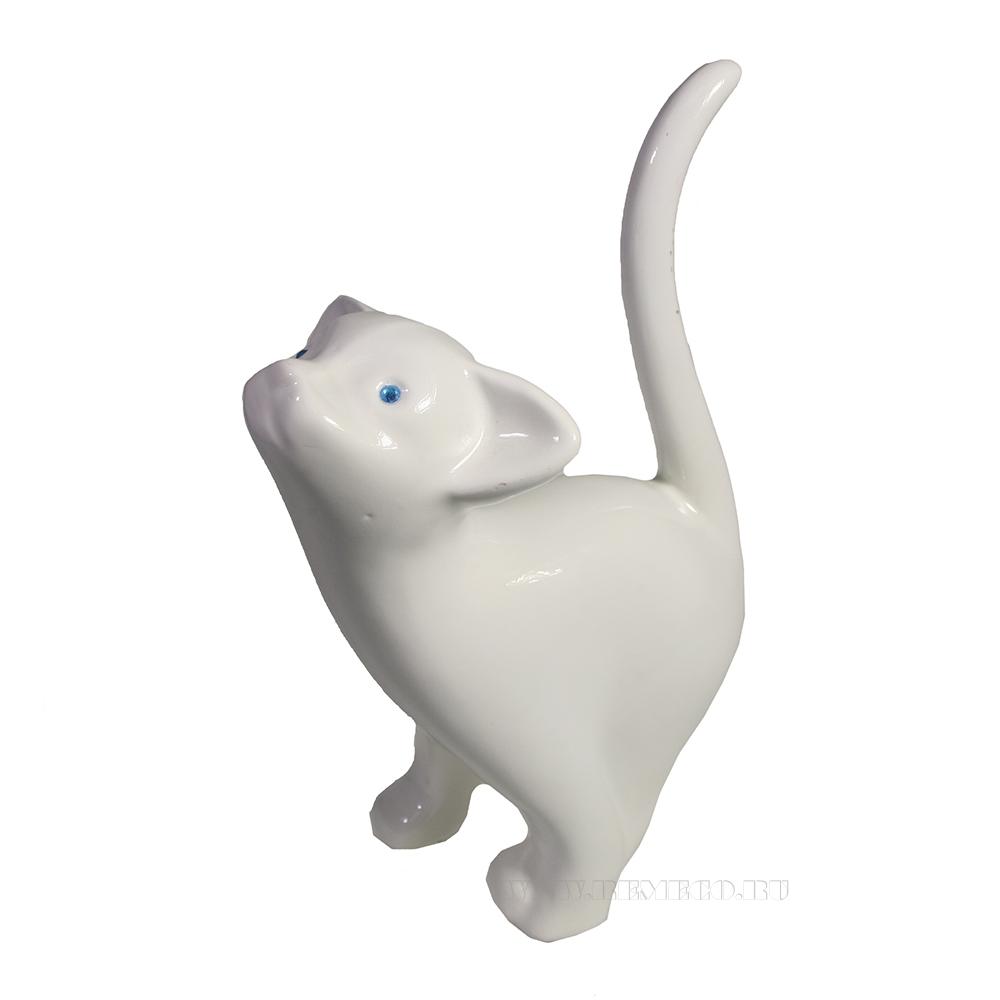 Фигура декоративная Котенок игривый (белый глянец) L18W7H18,5 оптом