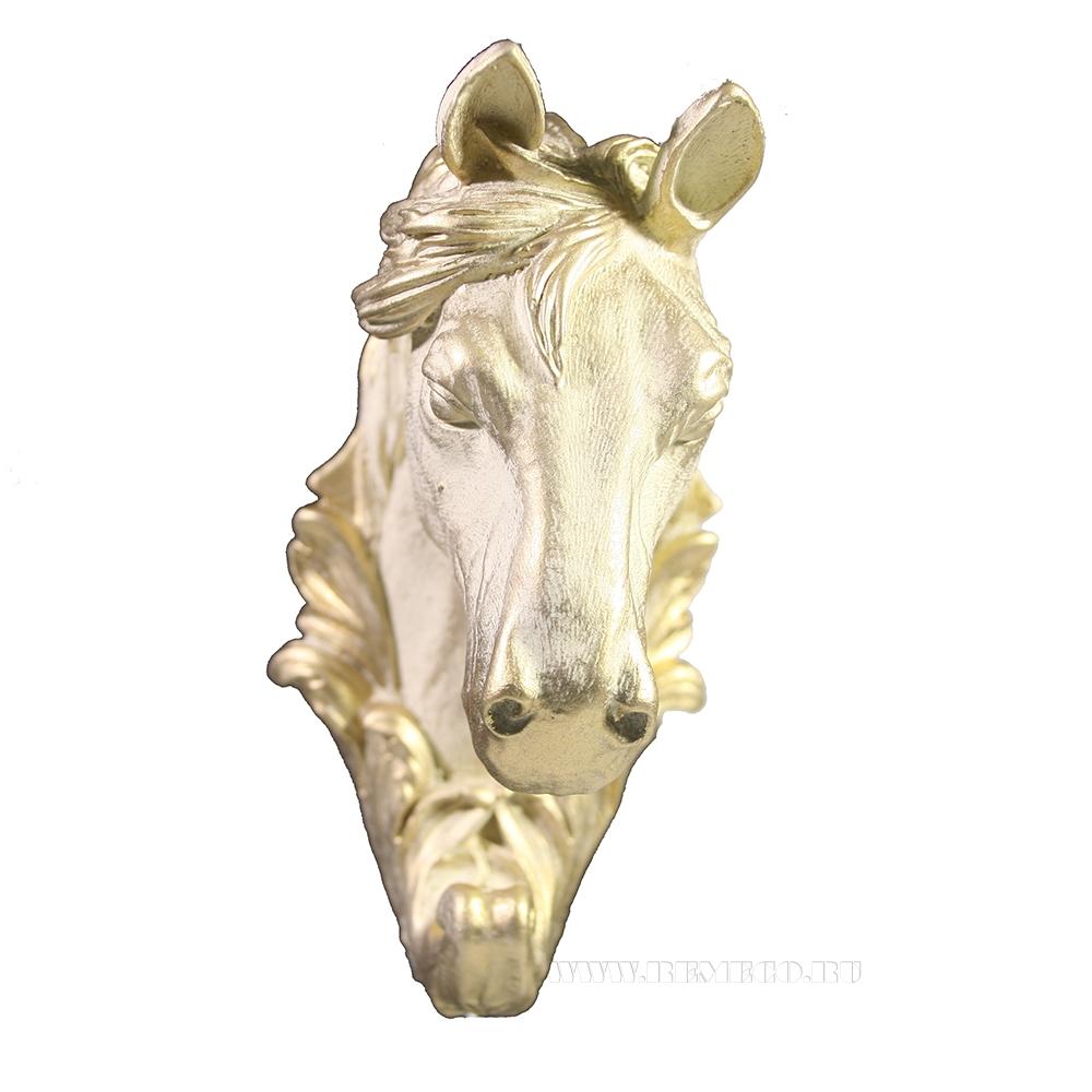 Изделие декоративное Крючок Лошадь (слоновая кость +золото) L8W6H11 оптом