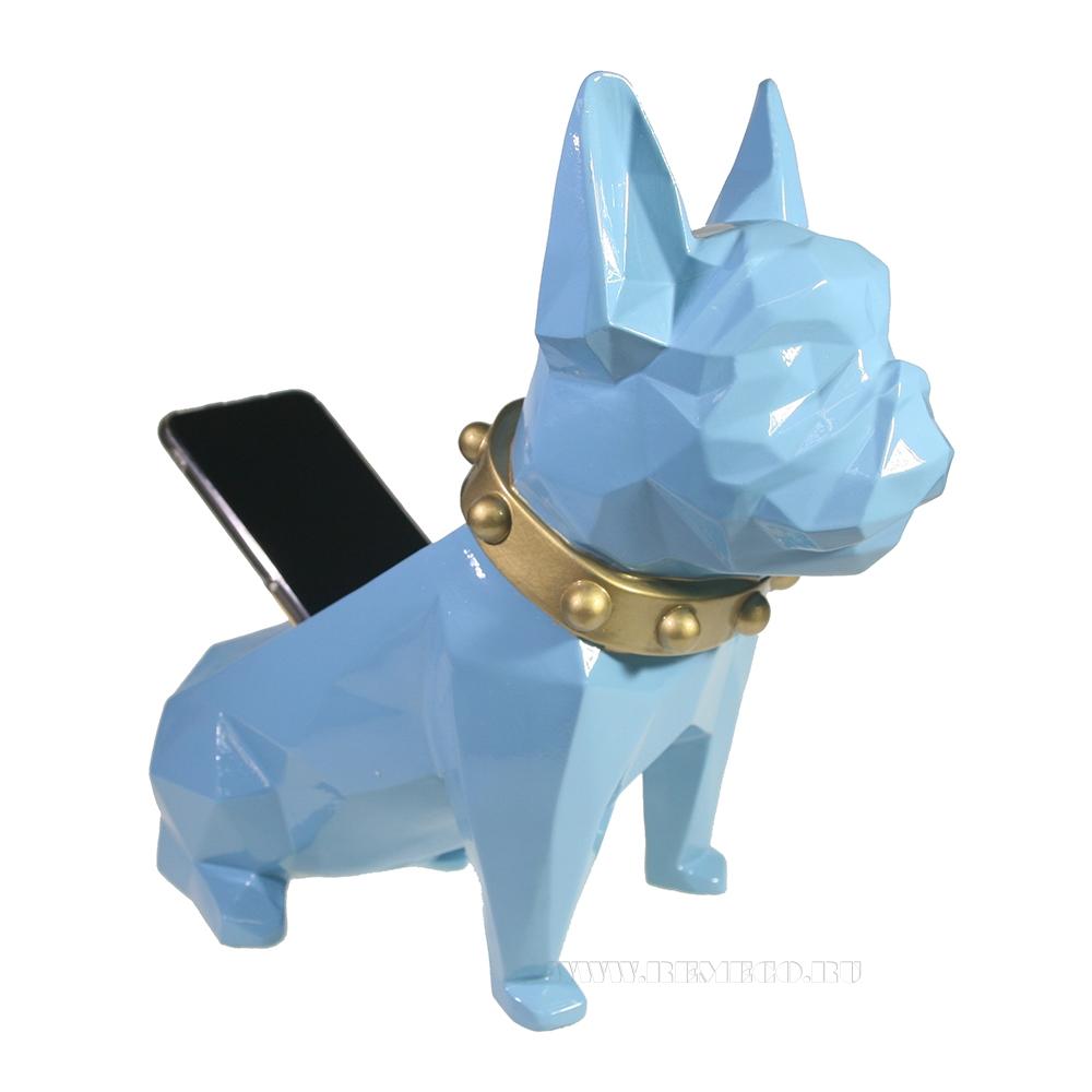 Изделие декоративное Подставка для мелочи Французский бульдог (голубой) L31W17H27 оптом