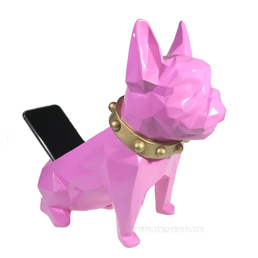 Изделие декоративное Подставка для мелочи Французский бульдог (розовый) L31W17H27 оптом
