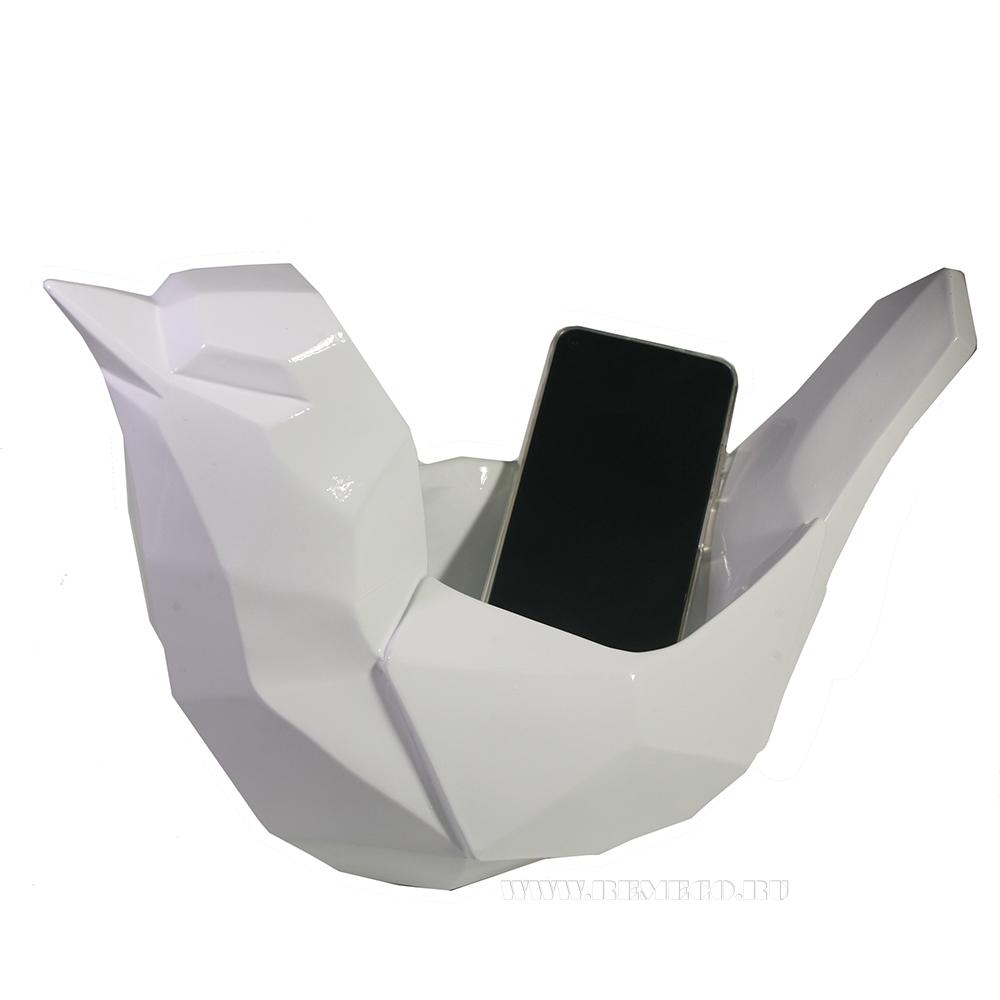 Изделие декоративное Подставка для мелочи Птичка (белый) L33W16,5H21 оптом