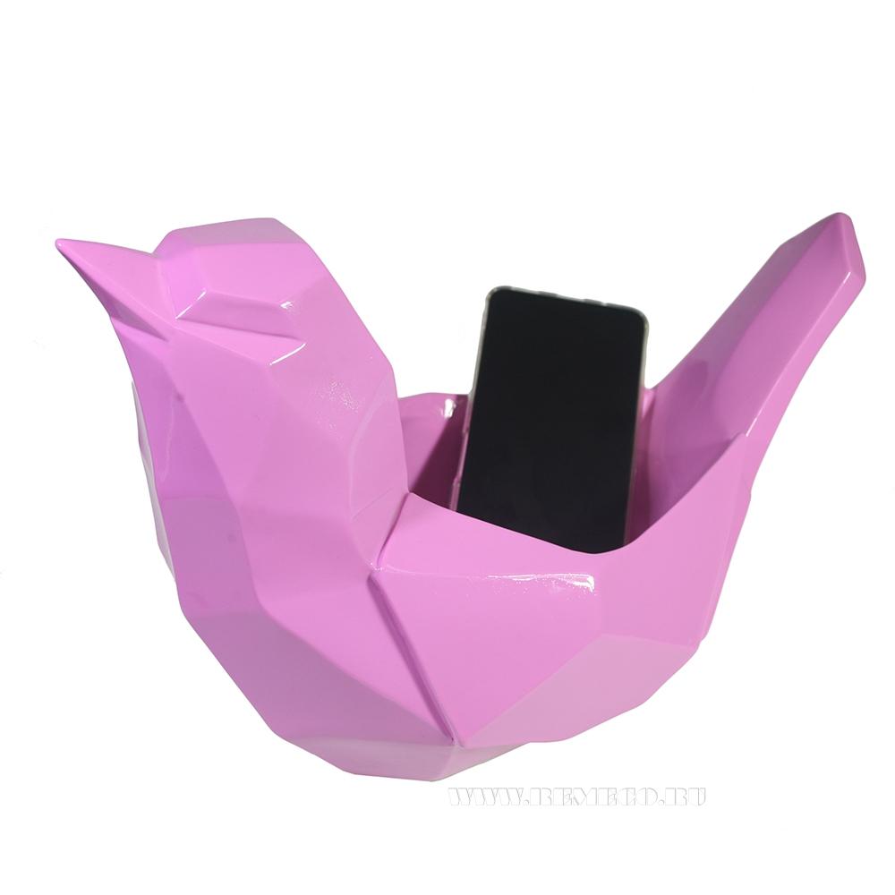 Изделие декоративное Подставка для мелочи Птичка (розовый) L33W16,5H21 оптом