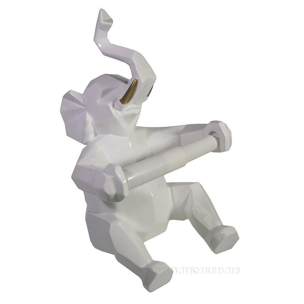 Изделие декоративное Держатель для бумаги Слон (белый) L21W19H27 оптом