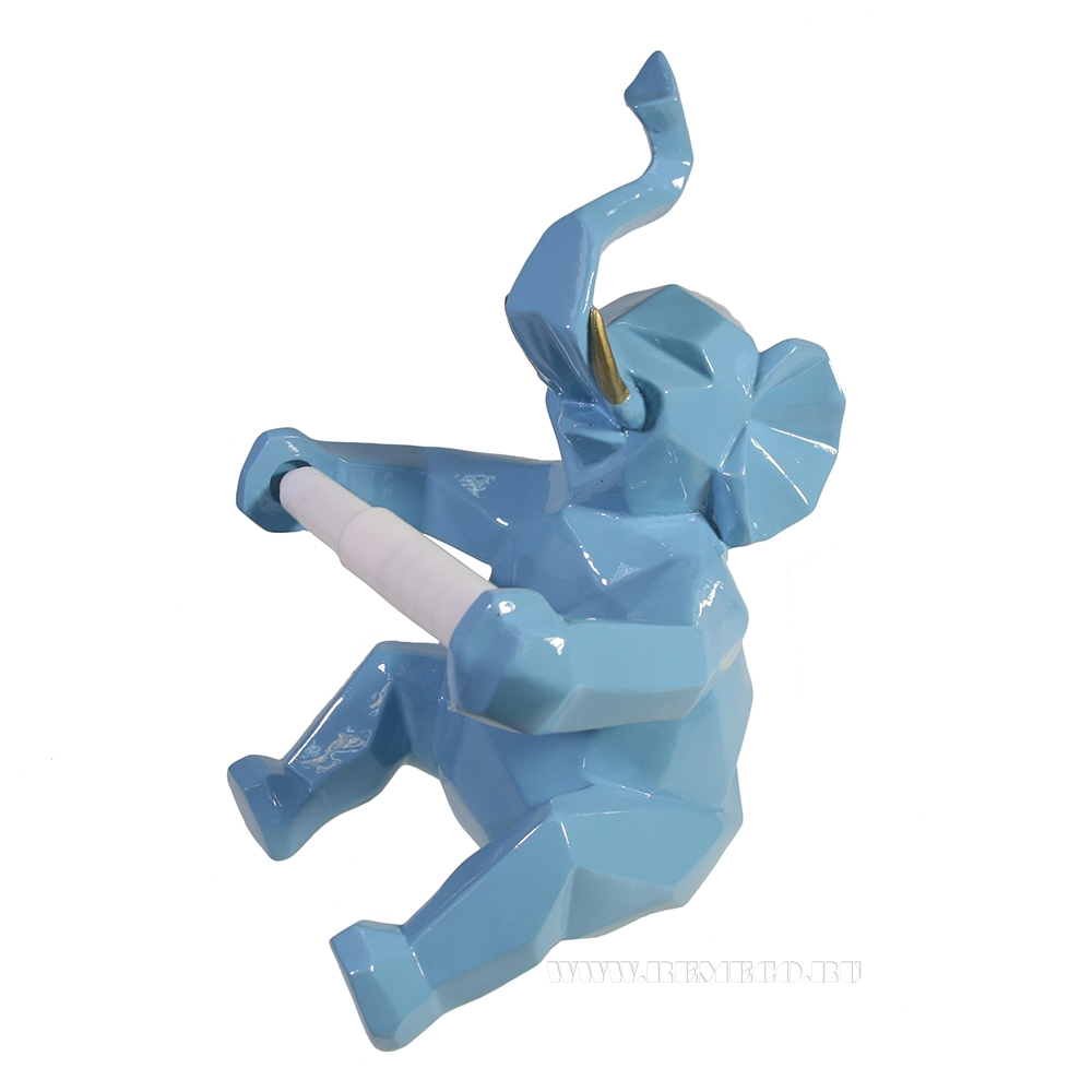 Изделие декоративное Держатель для бумаги Слон (голубой) L21W19H27 оптом