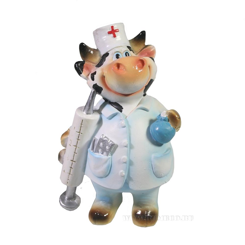 Фигура декоративная Бычок доктор L7W9,5H13,5 оптом